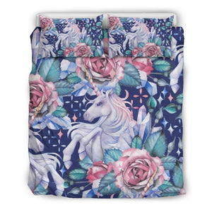 Blue Fairy Rose Unicorn Pattern Print Duvet Cover Bedding Set GearFrost
