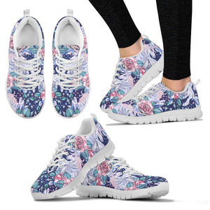 Blue Fairy Rose Unicorn Pattern Print Women's Sneakers GearFrost