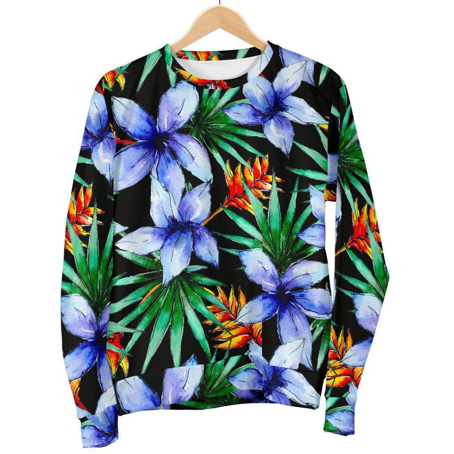 Blue Hawaiian Wildflowers Pattern Print Women's Crewneck Sweatshirt GearFrost