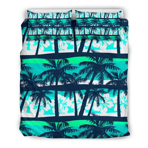 Blue Hibiscus Palm Tree Pattern Print Duvet Cover Bedding Set GearFrost