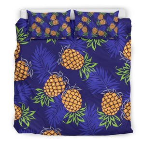 Blue Leaf Pineapple Pattern Print Duvet Cover Bedding Set GearFrost