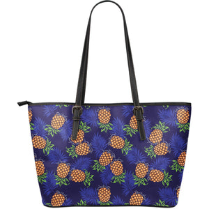 Blue Leaf Pineapple Pattern Print Leather Tote Bag GearFrost