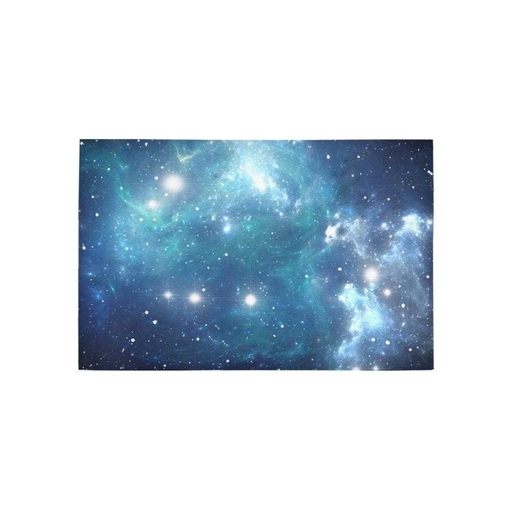 Blue Light Sparkle Galaxy Space Print 3 x 5 Indoor Area Rug GearFrost