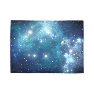 Blue Light Sparkle Galaxy Space Print 5 x 7 Indoor Area Rug GearFrost