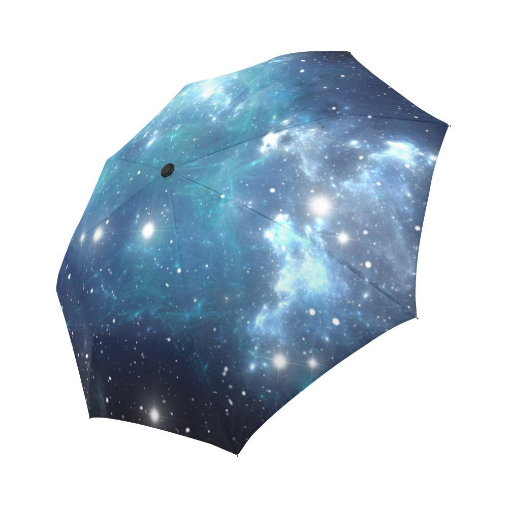 Blue Light Sparkle Galaxy Space Print Automatic Foldable Umbrella GearFrost