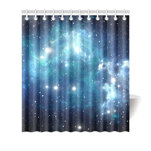 Blue Light Sparkle Galaxy Space Print Bathroom Shower Curtain GearFrost