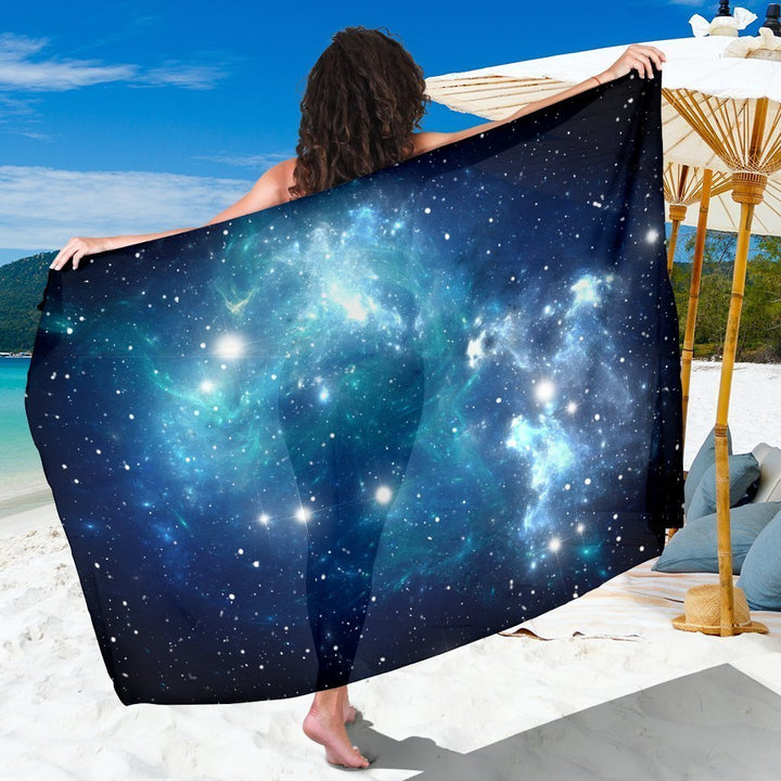 Blue Light Sparkle Galaxy Space Print Beach Sarong Wrap GearFrost