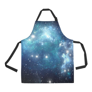 Blue Light Sparkle Galaxy Space Print Bib Apron With Pockets GearFrost