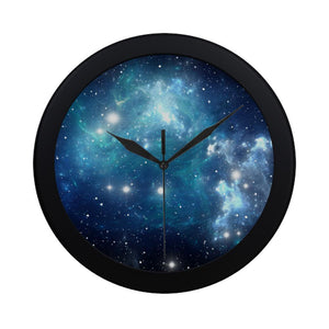 Blue Light Sparkle Galaxy Space Print Black Wall Clock GearFrost