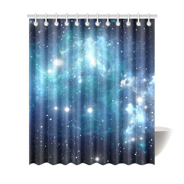 Blue Light Sparkle Galaxy Space Print Extra Long Shower Curtain GearFrost