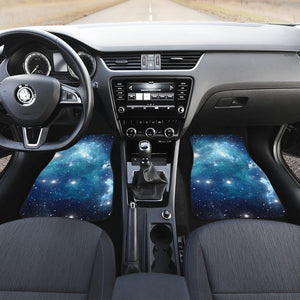 Blue Light Sparkle Galaxy Space Print Front and Back Car Floor Mats GearFrost