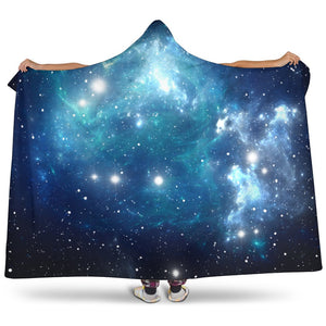 Blue Light Sparkle Galaxy Space Print Hooded Blanket GearFrost