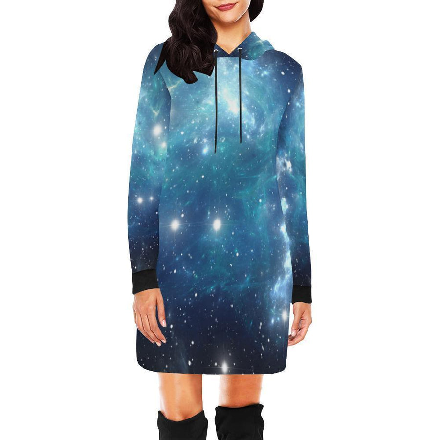 Blue Light Sparkle Galaxy Space Print Hoodie Dress GearFrost
