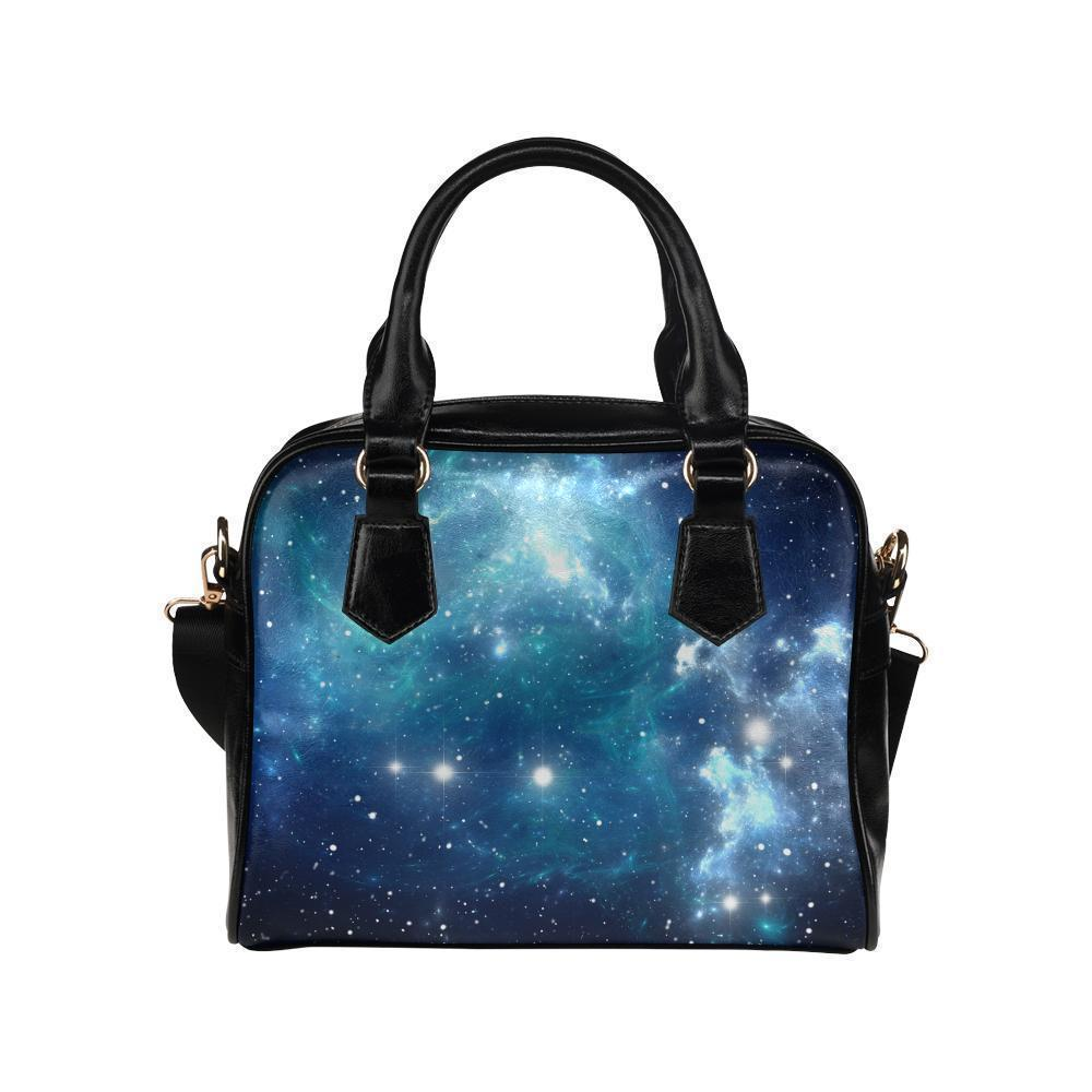 Blue Light Sparkle Galaxy Space Print Leather Shoulder Handbag GearFrost