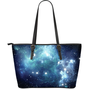 Blue Light Sparkle Galaxy Space Print Leather Tote Bag GearFrost