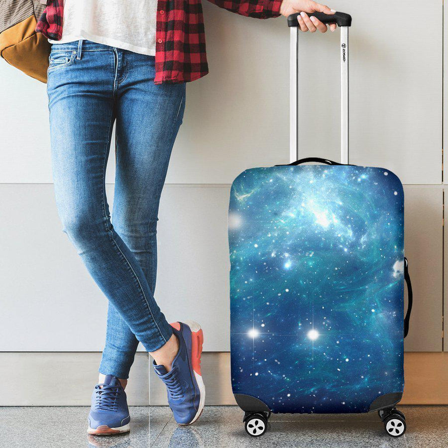 Blue Light Sparkle Galaxy Space Print Luggage Cover GearFrost