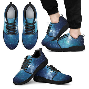 Blue Light Sparkle Galaxy Space Print Men's Athletic Shoes GearFrost