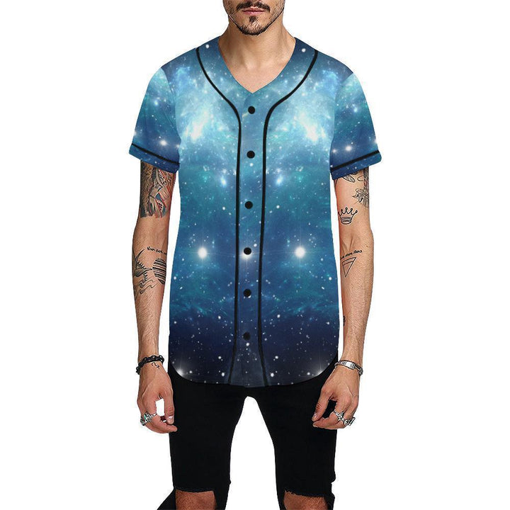 Blue Light Sparkle Galaxy Space Print Men's Baseball Jersey GearFrost