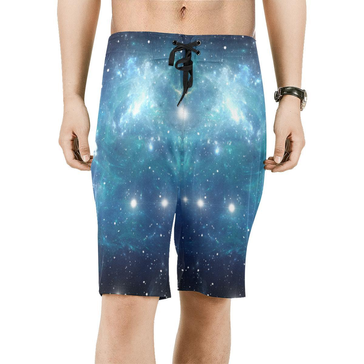 Blue Light Sparkle Galaxy Space Print Men's Board Shorts