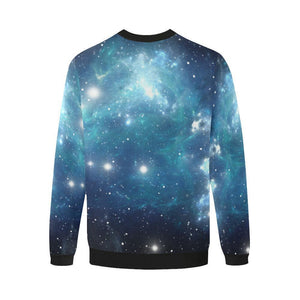 Blue Light Sparkle Galaxy Space Print Men's Crewneck Sweatshirt GearFrost
