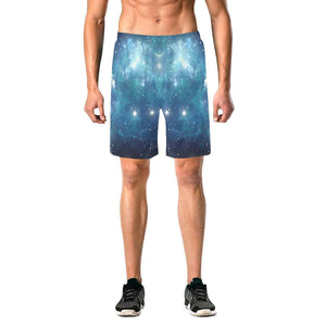 Blue Light Sparkle Galaxy Space Print Men's Elastic Board Shorts GearFrost