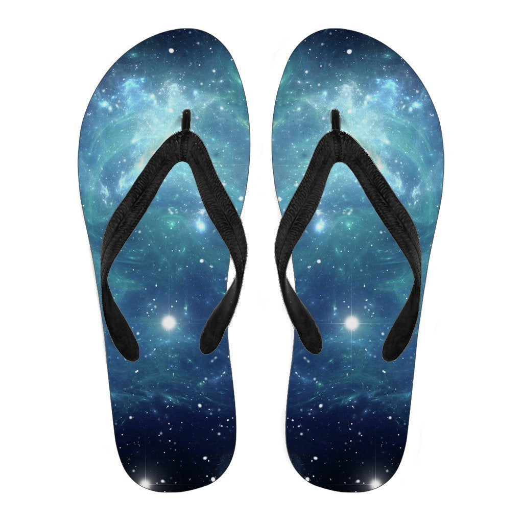 Blue Light Sparkle Galaxy Space Print Men's Flip Flops GearFrost