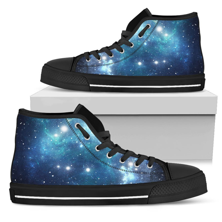 Blue Light Sparkle Galaxy Space Print Men's High Top Shoes GearFrost