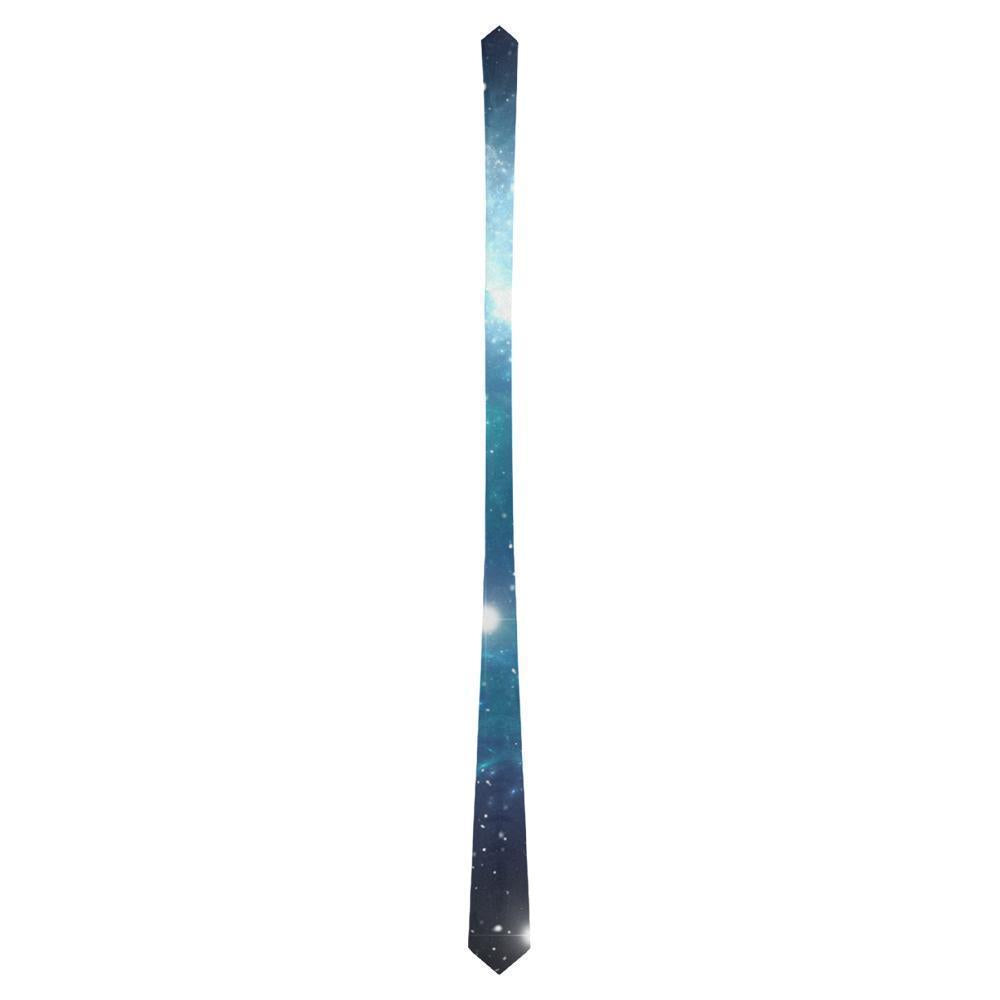 Blue Light Sparkle Galaxy Space Print Men's Necktie GearFrost