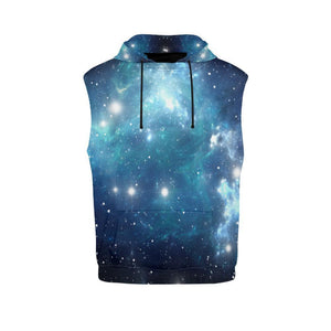 Blue Light Sparkle Galaxy Space Print Men's Sleeveless Hoodie GearFrost