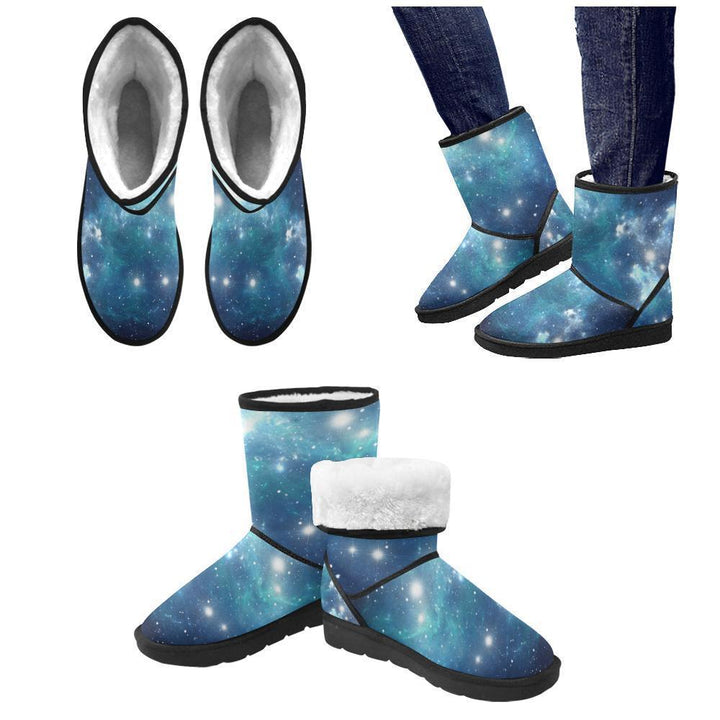 Blue Light Sparkle Galaxy Space Print Men's Snow Boots GearFrost