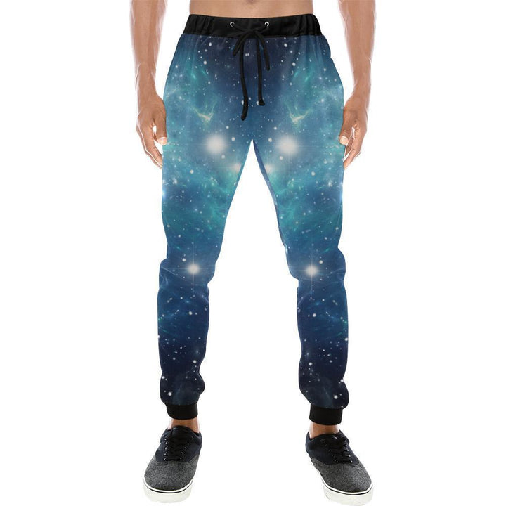 Blue Light Sparkle Galaxy Space Print Men's Sweatpants GearFrost