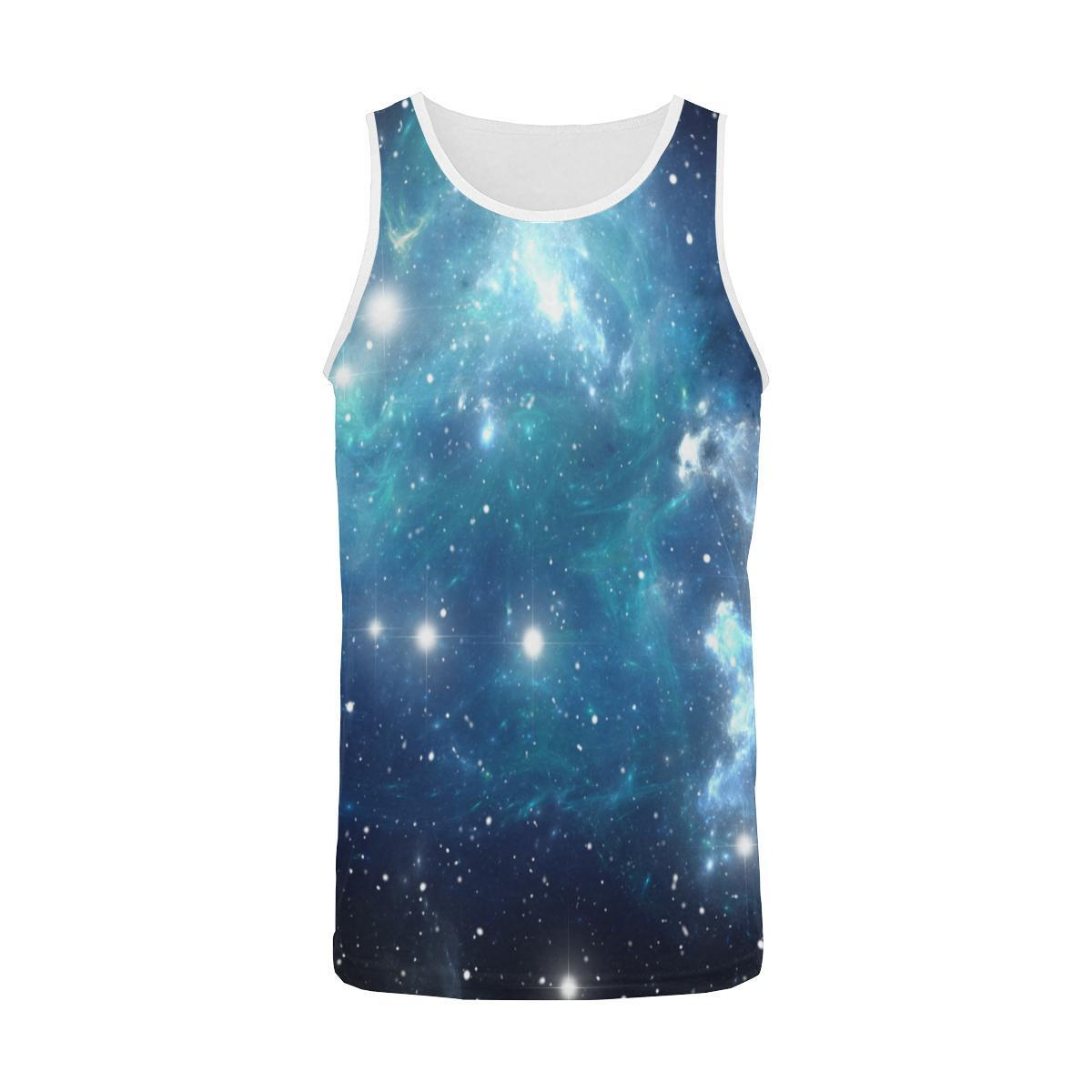 Blue Light Sparkle Galaxy Space Print Men's Tank Top GearFrost