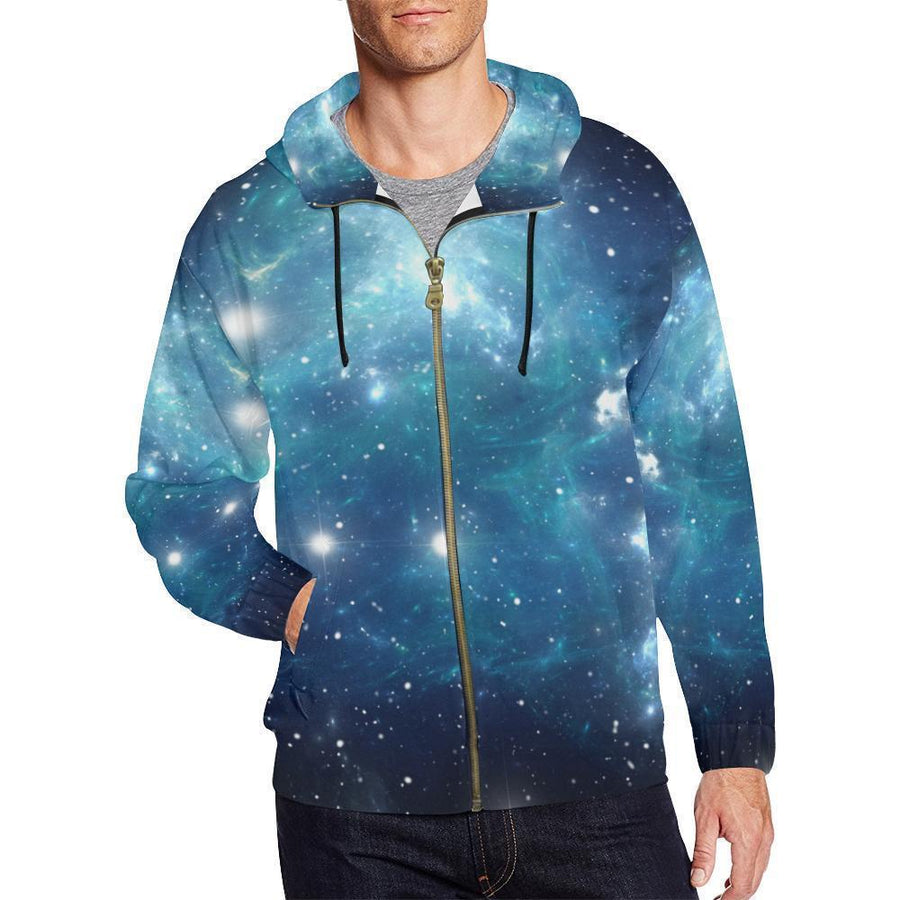 Blue Light Sparkle Galaxy Space Print Men's Zip Up Hoodie GearFrost