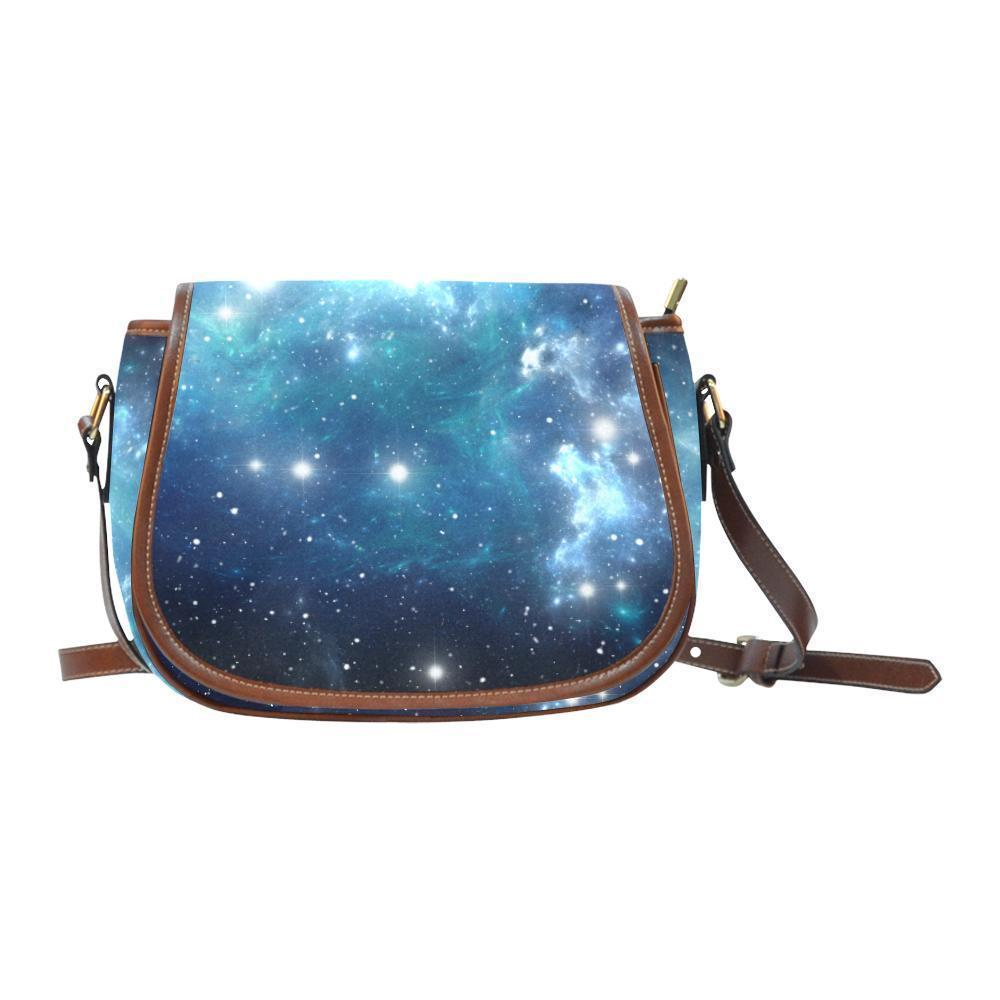 Blue Light Sparkle Galaxy Space Print Saddle Bag Crossbody Purse GearFrost