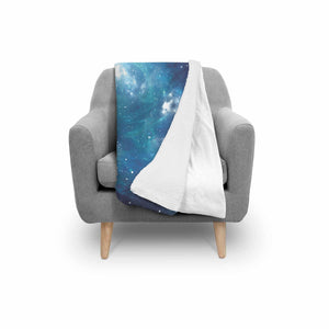 Blue Light Sparkle Galaxy Space Print Sherpa Blanket GearFrost