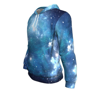 Blue Light Sparkle Galaxy Space Print Unisex Pullover Hoodie GearFrost