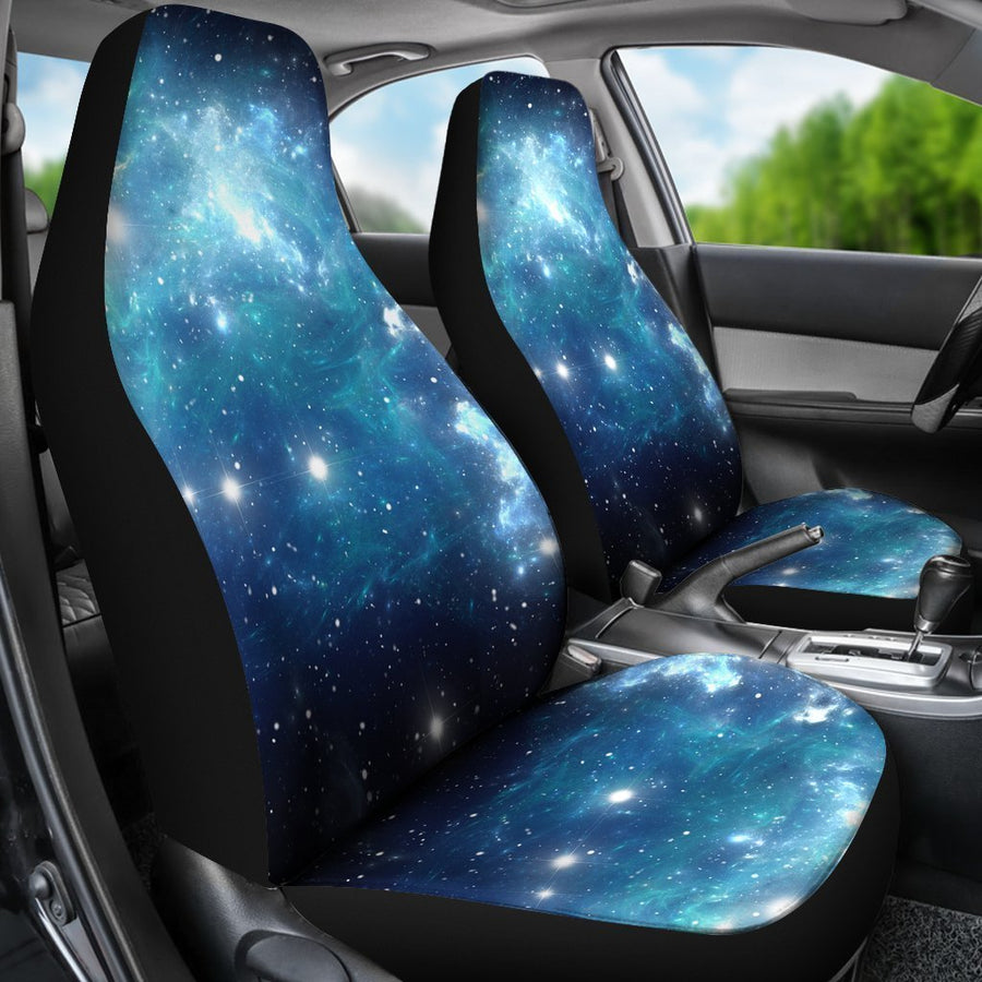 Blue Light Sparkle Galaxy Space Print Universal Fit Car Seat Covers GearFrost