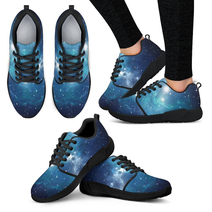 Blue Light Sparkle Galaxy Space Print Women's Athletic Shoes GearFrost