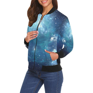 Blue Light Sparkle Galaxy Space Print Women's Bomber Jacket GearFrost