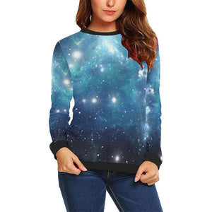 Blue Light Sparkle Galaxy Space Print Women's Crewneck Sweatshirt GearFrost