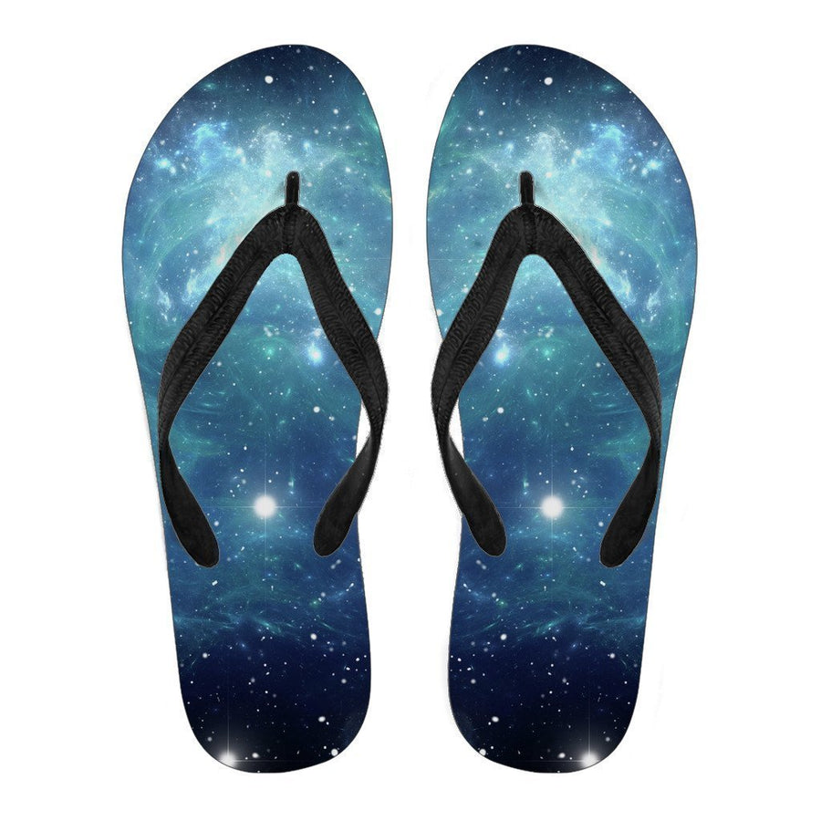 Blue Light Sparkle Galaxy Space Print Women's Flip Flops GearFrost