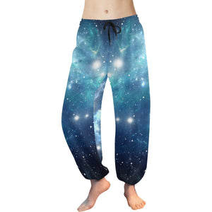 Blue Light Sparkle Galaxy Space Print Women's Harem Pants GearFrost
