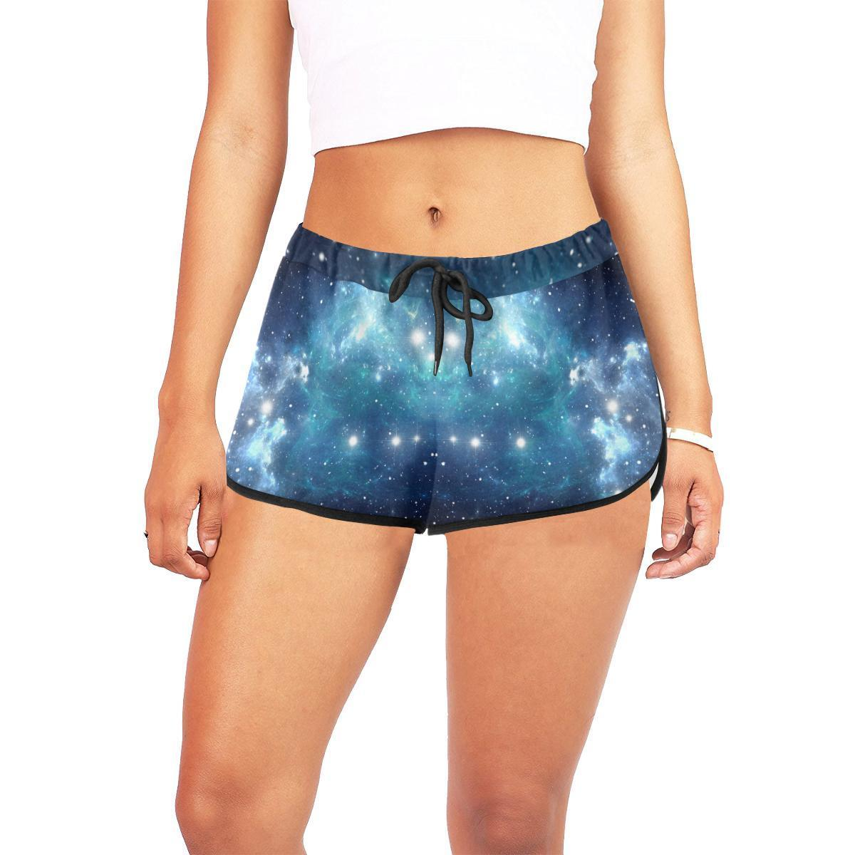 Blue Light Sparkle Galaxy Space Print Women's Shorts GearFrost
