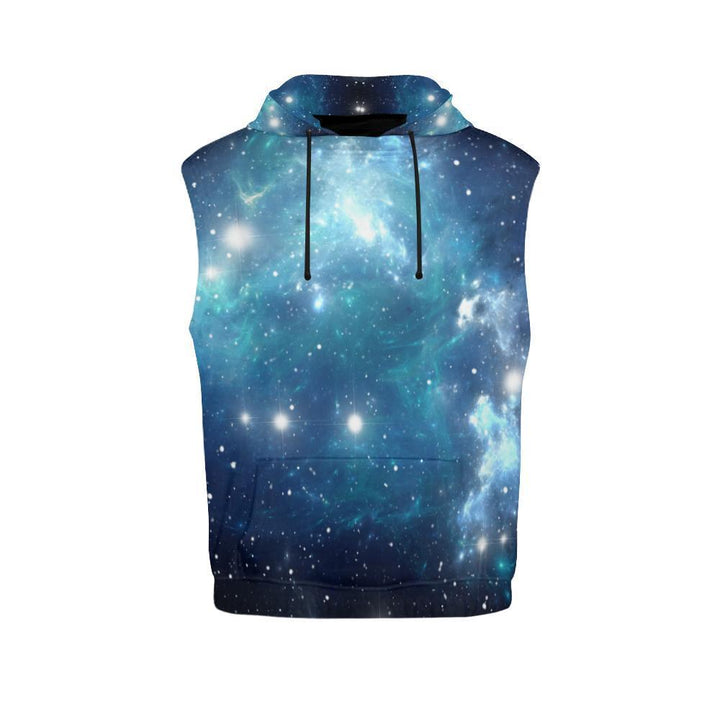 Blue Light Sparkle Galaxy Space Print Women's Sleeveless Hoodie GearFrost