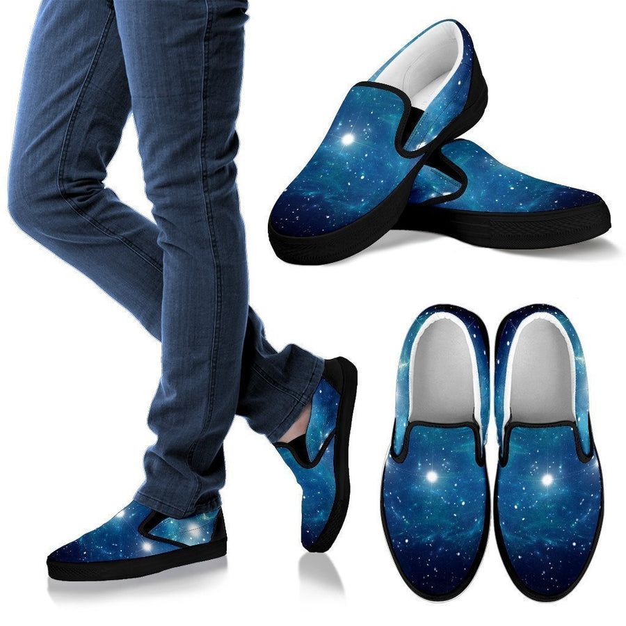 Blue Light Sparkle Galaxy Space Print Women's Slip On Shoes GearFrost