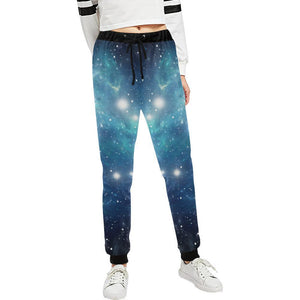 Blue Light Sparkle Galaxy Space Print Women's Sweatpants GearFrost