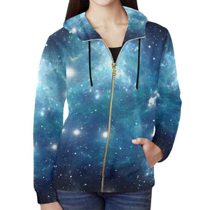 Blue Light Sparkle Galaxy Space Print Women's Zip Up Hoodie GearFrost