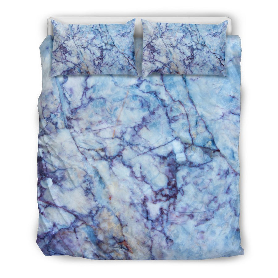 Blue Marble Print Duvet Cover Bedding Set GearFrost