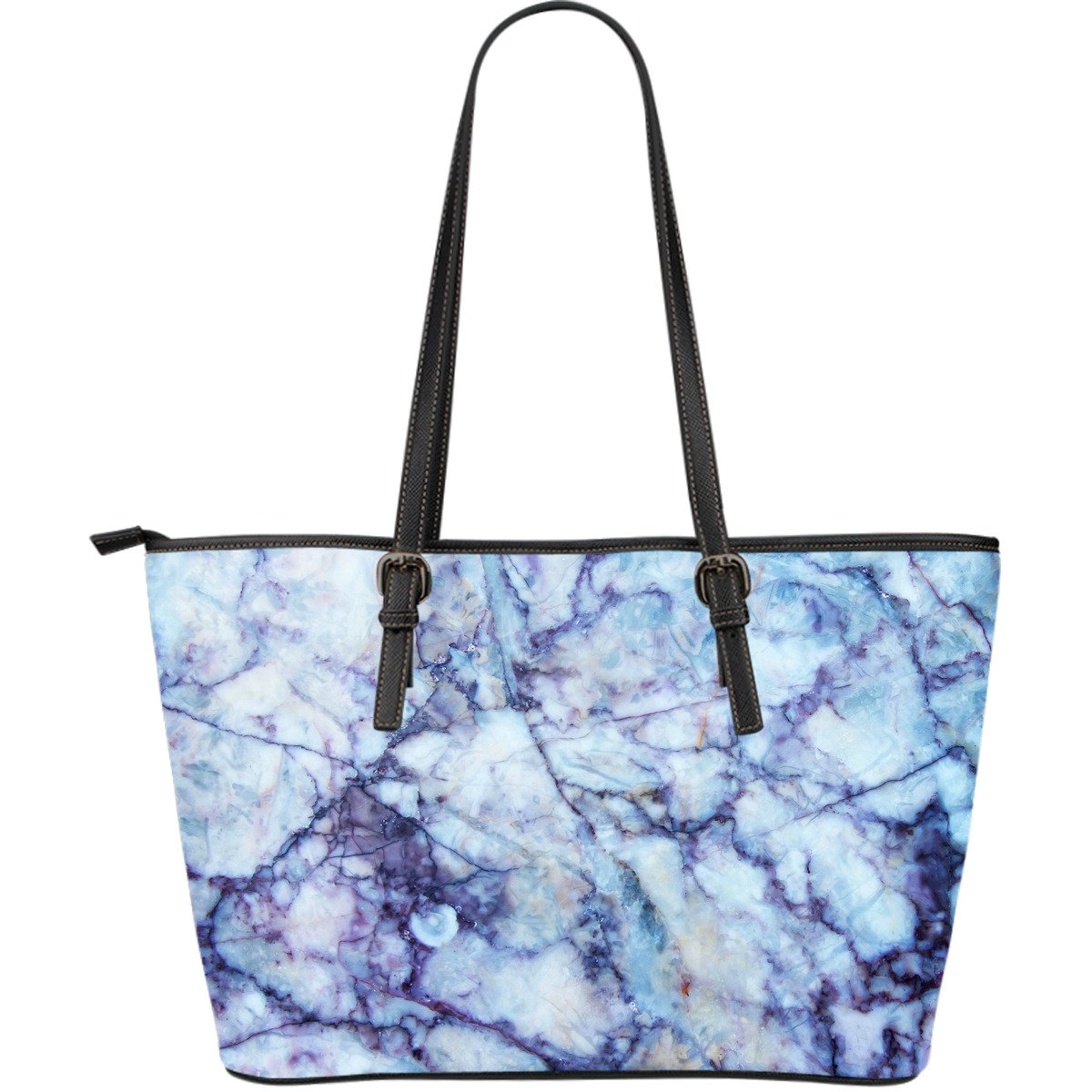 Blue Marble Print Leather Tote Bag GearFrost
