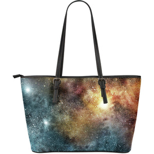 Blue Orange Stardust Galaxy Space Print Leather Tote Bag GearFrost